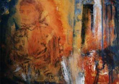 alluscita dalla chiesa affresco su tavola 60x70
