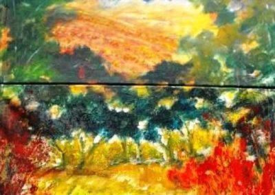 atzara e il suo paesaggio acrilico su tela 70x100