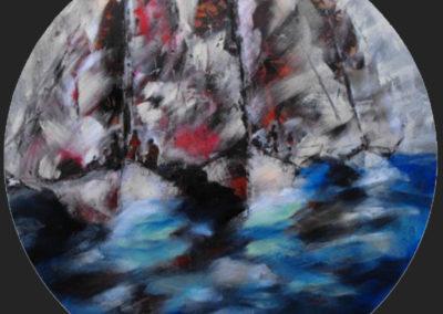 barche a vela sul mare acrilico circolare cm 100
