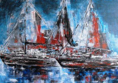 barche in rada acrilico su tela 70x100