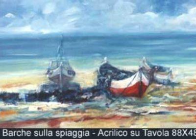 barche sulla spiaggia acrilico su tavola 88x48