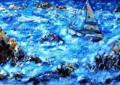 bonifacio in barca a vela 120x100 acrlico su mdf
