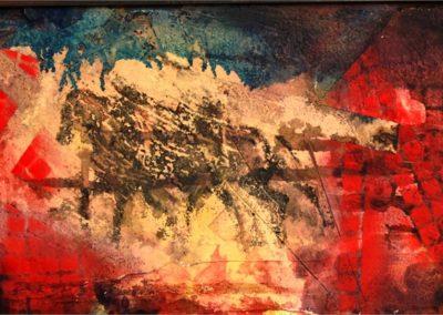 cavalli affresco su mdf 60x20