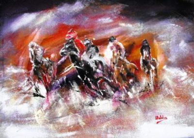 cavalli al galoppo 50x70 acrilico su faesite