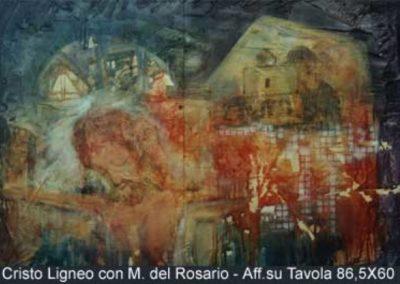 cristo ligneo con m. del rosario affresco su tavola 86x60