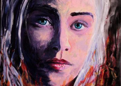 daenerys targaryen game of thrones acrylic on canvas 120x80