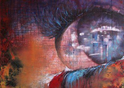 davanti agli occhi - in front of eyes acrilico su tela 100x100