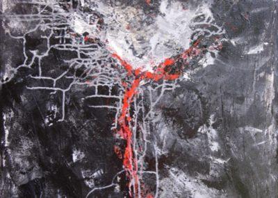 deep red acrylic on canvas 70x100