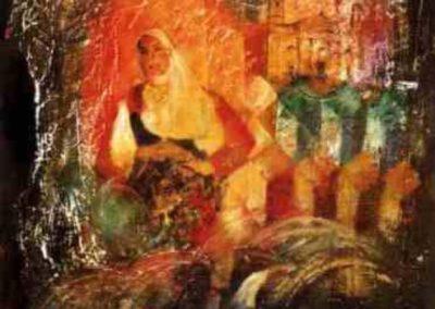 donna di nuoro affresco su tavola 80x80