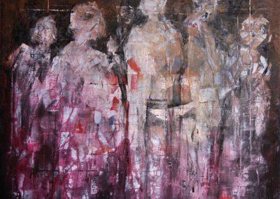 donne in manifestazione acrilico su tela 100x100
