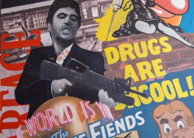drugs-are-uncool-tecnica-mista-su-tela-175x141-