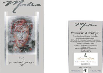etichetta vino  malia sfondo grigio