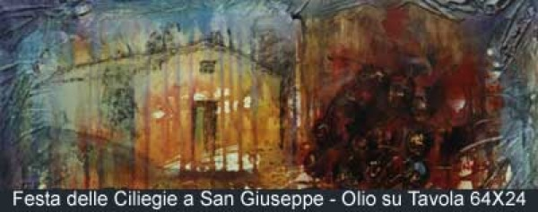 festa delle ciliegie a san giuseppe olio su tavola 54x24