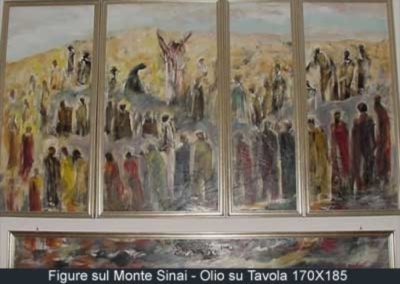 figure sul monte sinai olio su tavola 170x185
