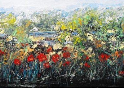 fiori sul fiume acrilico su mdf 116x62