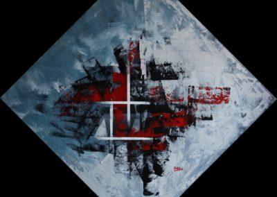 frammenti in rosso e nero su sfondo nero acrilico su tela 114x114