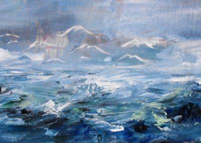 gabbiani sul mare acrilico su mdf 30x64
