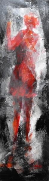 ground zero donna alla fermata acrilico su mdf 22x80