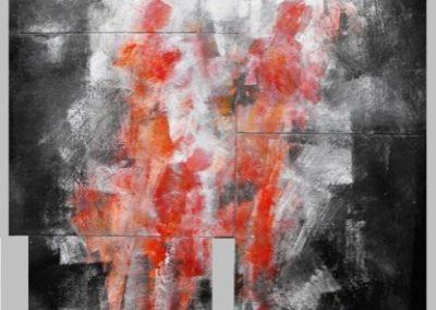 ground zero figure in bilico acrilico su mdf 57x84