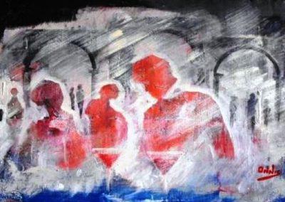 ground zero ragazzi nel bistrot acrilico su mdf 39x72