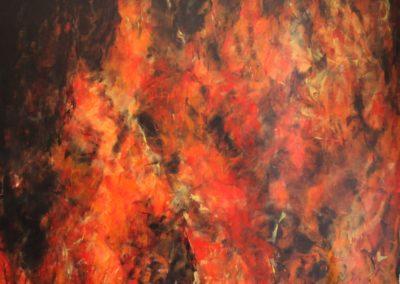 il fuoco fonte di luce e di calore acrilixco su tela 175x194