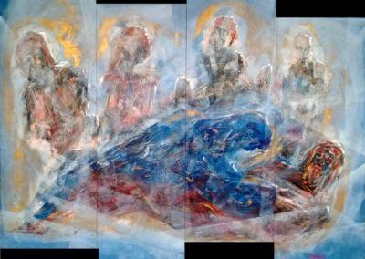 il pianto della madonna acrilico su mdf 250x200