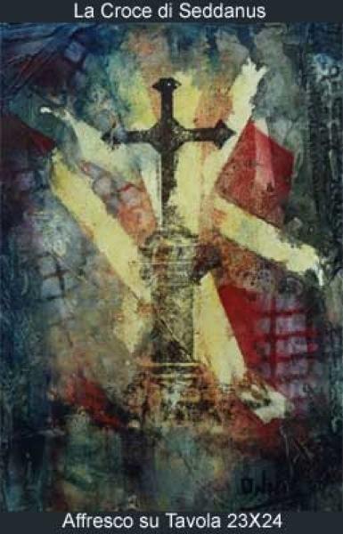 la croce di seddanus affresco su tavola 23x24
