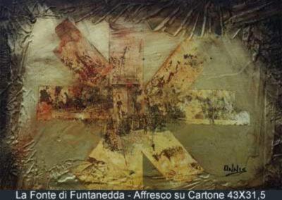 la fonte di funtanedda affresco su cartone 43x31