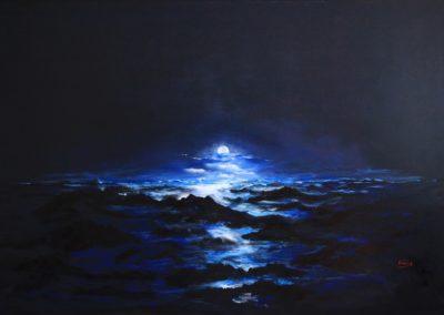 luna piena sul sul mare acrilico su tela 188x126