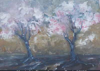 mandorli in fiore acrilico su tavola 36x30