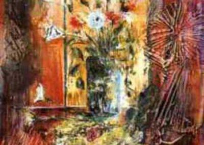 n. morta con bronzetto affresco su tavola 80x80