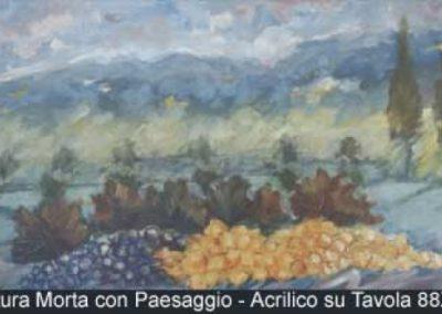 natura morta con paesaggio acrilico su tavola 88x48
