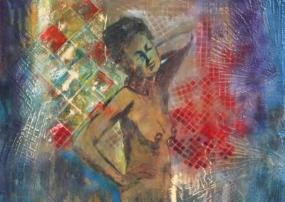 nudo di donna 2 tecnica mista su mdf 70x70