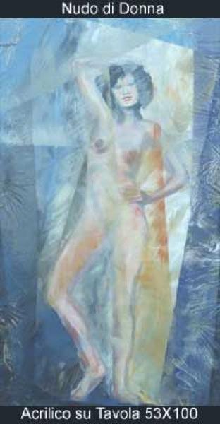 nudo di donna acrilico su tavola 53x100