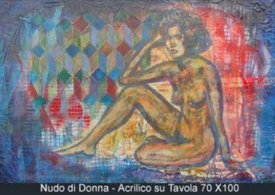 nudo di donna acrilico su tavola 70x100