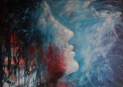 occhi sul cielo eyes on the sky acrylic on canvas 1875x1245