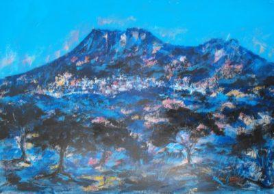 oliena e il suo paesaggio acrilico su cartone 70x100
