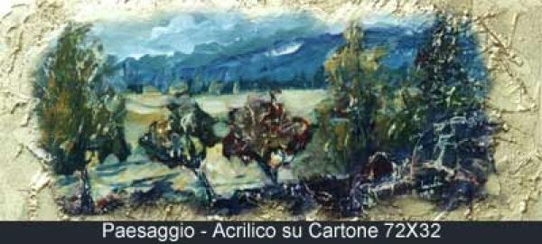 paesaggio acrilico su cartone 72x32
