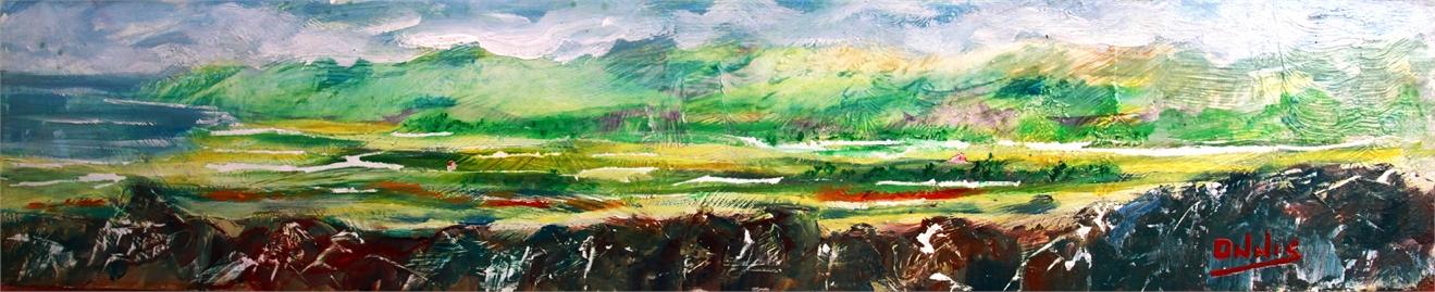 paesaggio acrilico su tavola 19x84