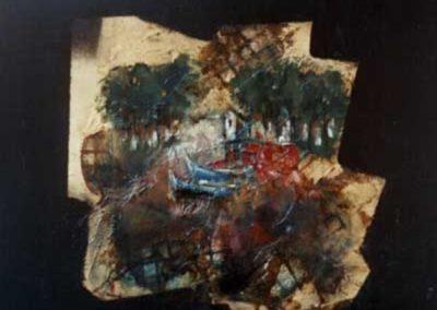 paesaggio acrilico su tavola 43x43