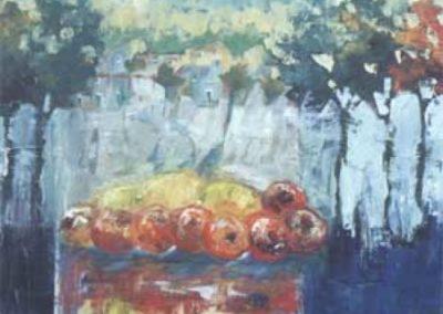 paesaggio con cedri e arance acrilico su tela 100x120