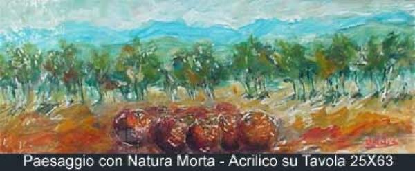 paesaggio con natura morta acrilico su tavola 25x63