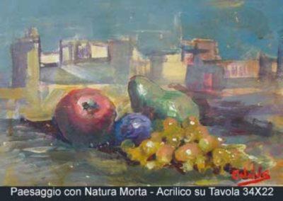 paesaggio con natura morta acrilico su tavola 34x22