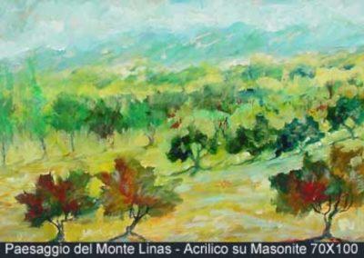 paesaggio del monte linas acrilico su masonite 70x100