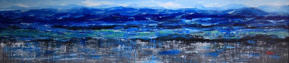 paesaggio dopo la pioggia acrilico su tela 190x435