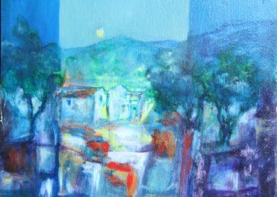 paesaggio serale acrilico su cartone 20x 40