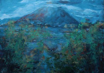 paesaggio sul monte fuji acrilico su tela 80x100