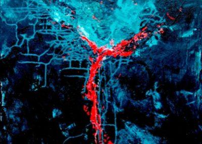 profondo rosso acrilico su tela 70x100