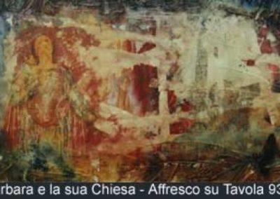 s. barbara e la sua chiesa affresco su tavola 93x45