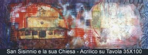 san sisinnio e la sua chiesa acrilico su tavola 35x100